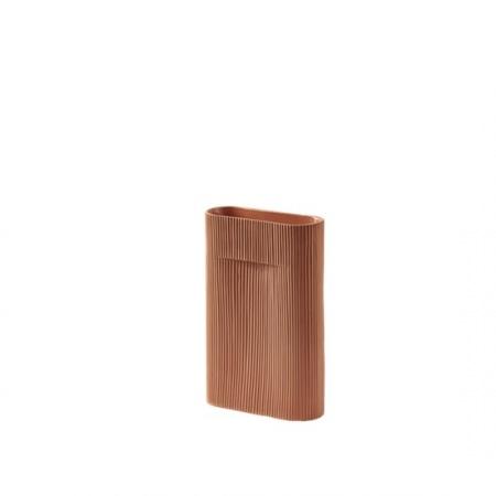 Vase Ridge H35 - Terracotta