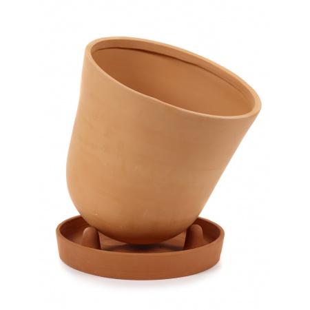 Pot conique avec soucoupe -...